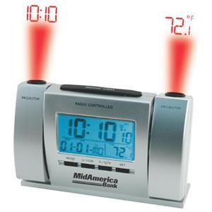 Radio Controlled Dual Projector Alarm Clock With Large Lcd Screen