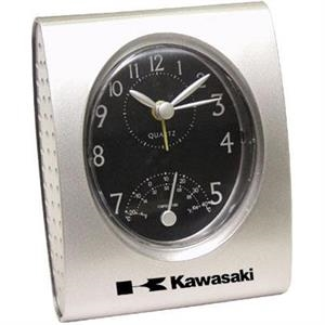 Retro - Silver Desk Clock With Temperature And Alarm
