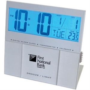Jumbo Back Light Lcd Desk Alarm Clock With Thermometer