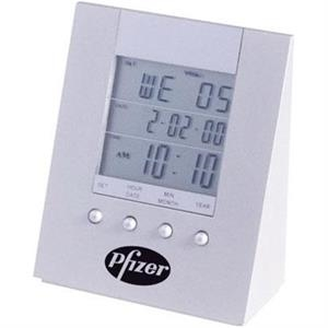Time Wedge - Anodized Aluminum Wedge Shape Desk Clock With Day, Date And Time Lcd Display