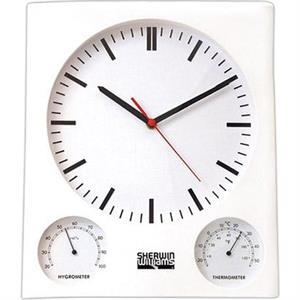 White Wall Clock With Thermometer And Hygrometer, Batteries Included