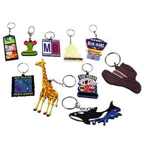 "3 1/2"" - Custom Pvc Laser Cut Full Color Vinyl Key Chain"