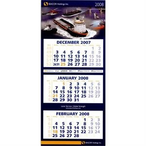 Four Panel Wall Calendar With Three Separate Monthly Pads. European Styling