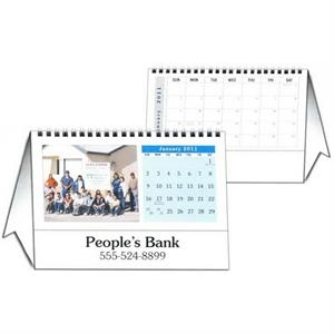 "8.5"" X 6"" - Custom Tent Desk Calendar With 12 Different Full Color Photos And Wire-o Binding"