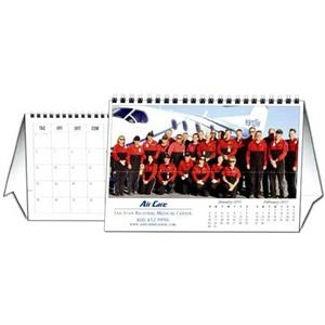 "8.5"" X 5.5"" - Custom Tent Desk Calendar With 12 Different Full Color Photos And Wire-o Binding"