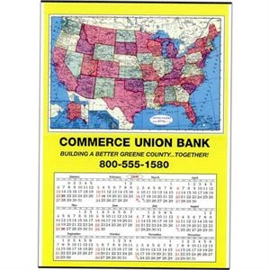 U.s. - Jumbo Map Wall Calendar Is Tinned At Top And Bottom