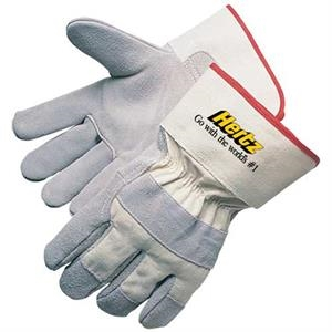 Select Split Cowhide Work Gloves. - Split Cowhide Work Gloves With White Canvas Back
