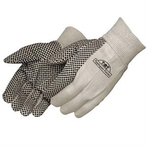 Canvas Work Gloves With Black Pvc Dots On Palm, Index Finger And Thumb