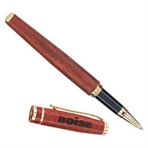 Roller Ball Pen With Rosewood Barrel And Satin Gold Accent