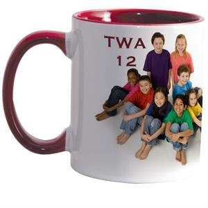 Maroon - Match Full-color, Full-wrap Decoration To This 11 Oz Colored Inside And Handle Mug!