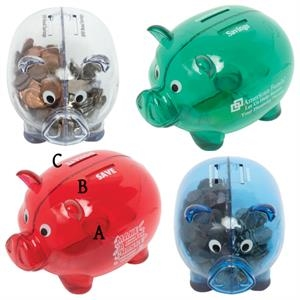 Dual Savings Piggy Bank With Two Separate Chambers