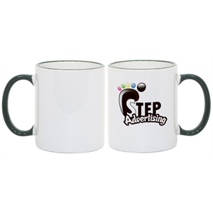 Green - Match Images And Themes To This Sublimation Rim And Handle Colored Ceramic Mug!