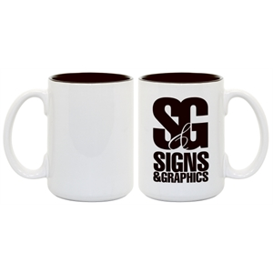 Black - Enhance Your Imprinted Images And Logos With This 15 Oz Colored Photo Mug!