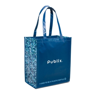 "Caribbean Blue-navy Blue - Laminated 100% Recycled Shopper Bag With 23.5"" Shoulder Straps"