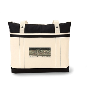 "Windjammer - Black - Tote Bag With Colorful Nautical Design And 28"" Shoulder Straps"