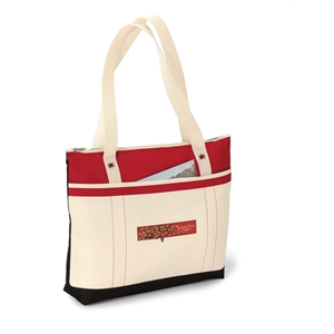 "Windjammer - Red - Tote Bag With Colorful Nautical Design And 28"" Shoulder Straps"