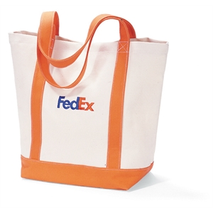 Orange - Cotton Boat Tote With Roomy Main Compartment And Front Pocket