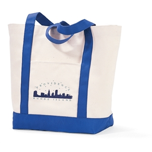 Royal Blue - Cotton Boat Tote With Roomy Main Compartment And Front Pocket