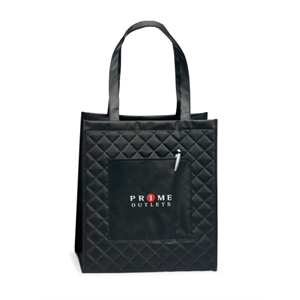 "Soho - Black - Quilted Laminated Non-woven Shopper Bag With 22.5"" Shoulder Straps"