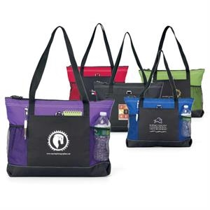 "Select - Royal Blue - Zippered Tote Bag With Mesh Pockets And 29.5"" Shoulder Straps"