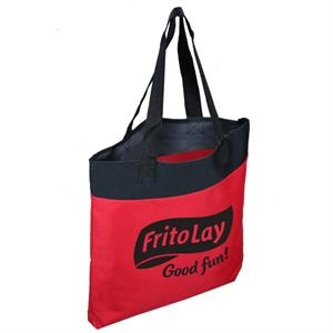 "600d Polyester Tote Bag With Vinyl Backing, 24"" Webbed Handles And Bottom Gusset"