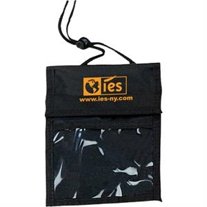Badge Holder, With Clear Front Pocket, Velcro Pocket, Open Pocket, And Pen Logs