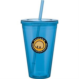 Spirit - Aqua - 24 Oz Acrylic Double Wall Tumbler With Threaded Lid And Matching Straw