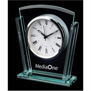 Trapezoid Shape Glass Alarm Clock With Roman Numerals