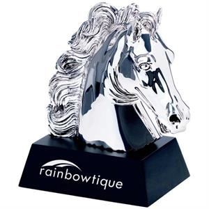 Silver Plated Horse Award On Wooden Base