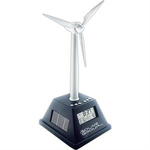 Solar Powered Turning Wind Turbine With Alarm Clock