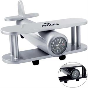 "Airplane Shaped Clock, 7"" X 3 3/8"" X 7 1/2"""