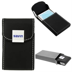 Carinola - 50 Working Days - A Black Leatherette Business Card Holder With Polished Metal Accents