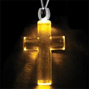Light Up Necklace - Acrylic Cross Pendant - Amber