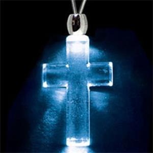 Light Up Necklace - Acrylic Cross Pendant - Blue