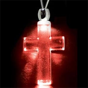 Light Up Necklace - Acrylic Cross Pendant - Red