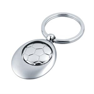Soccer - Sport Key Tag With Swivel Center