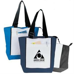 Embroidery - Two-tone Zipper Tote Bag Made Of 600-denier Polyester With Vinyl Backing