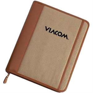 Silkscreen - Cotton Canvas Zippered Padfolio With Front Pocket And Zipper Closure