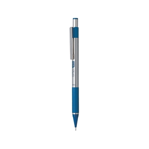 Zebra - Mechanical Pencil With Stainless Steel Barrel And Blue Textured Grip