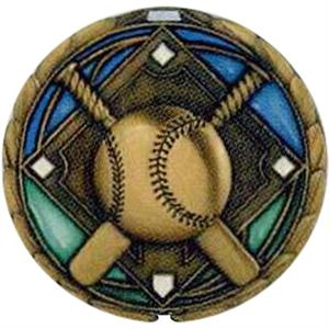 "Baseball - Stock 2 1/2"" Cem Medal With Tinted Epoxy Giving A Stained Glass Effect"