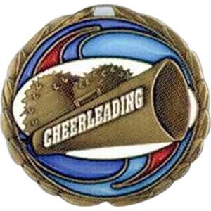 "Cheerleading - Stock 2 1/2"" Cem Medal With Tinted Epoxy Giving A Stained Glass Effect"