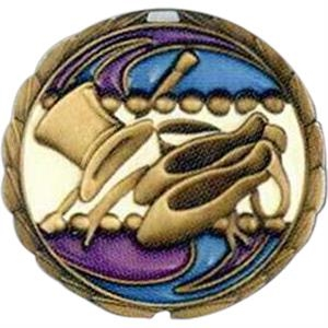 "Dance - Stock 2 1/2"" Cem Medal With Tinted Epoxy Giving A Stained Glass Effect"