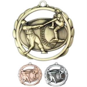 Male Baseball - Stock Sculptured Medal With Smooth Back And Jump Rings, 2 3/8""