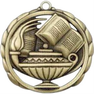 Book And Lamp - Stock Sculptured Medal With Smooth Back And Jump Rings, 2 3/8""