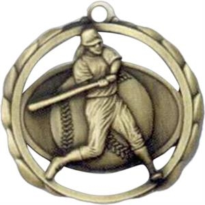 Female Softball - Stock Sculptured Medal With Smooth Back And Jump Rings, 2 3/8""