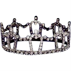 "Austrian Crystal Rhinestone Crown With Straight Sides, 1 3/4"" High"