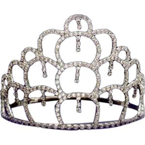 "Rhinestone Tiara With Four Tiers Of Connecting Circles, Adjustable Band, 5"" High"