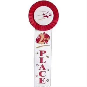"2nd Place - Multicolor Stock Rosette Ribbon With 2"" X 8"" Streamer And String Back"