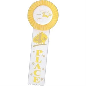 "4th Place - Multicolor Stock Rosette Ribbon With 2"" X 8"" Streamer And String Back"