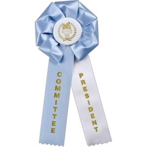 "Custom Rosette Ribbon With 5"" Diameter Head And Two 2"" X 9"" Streamers, 12"""
